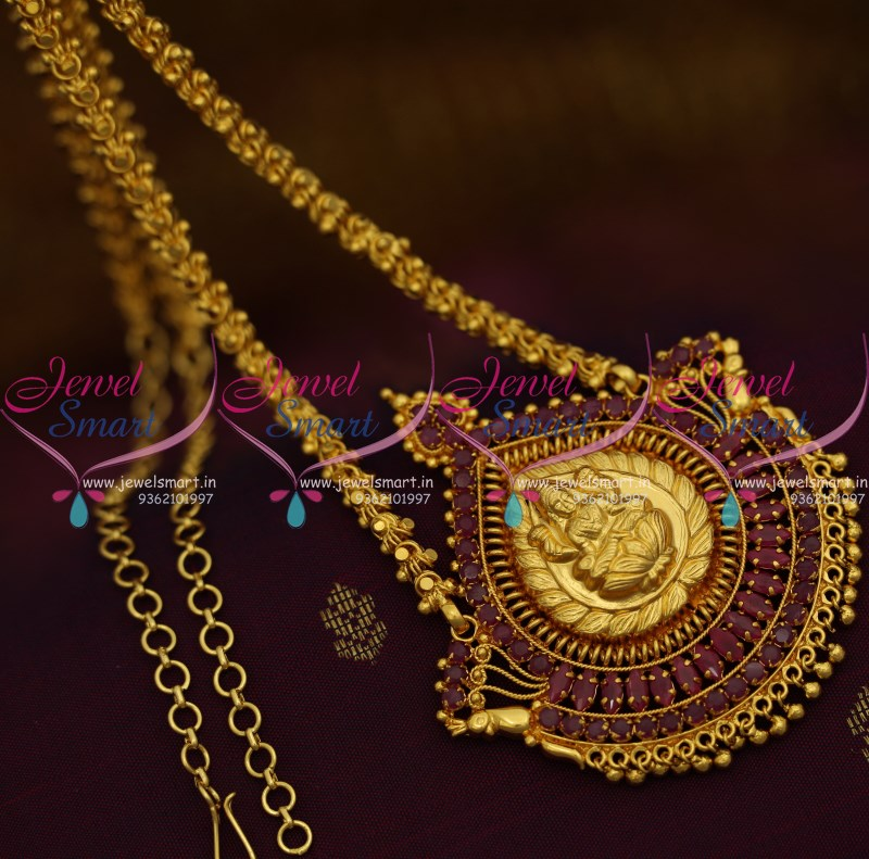 Cs9209 gold plated traditional south indian chain ruby pendant cs9209 gold plated traditional south indian chain ruby pendant temple jewellery online mozeypictures Image collections