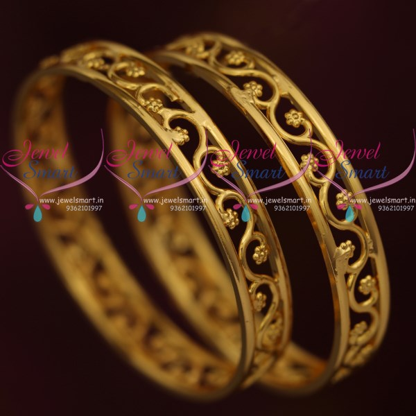 B9381 Floral Design Baby Small Size Broad Gold Plated