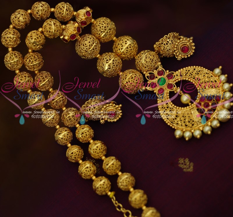 nl11356 gold plated kemp beaded jewellery small jhumka south indian