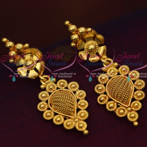 Gpe0186 Gold Plated Screw Tops Earrings Indian Traditional
