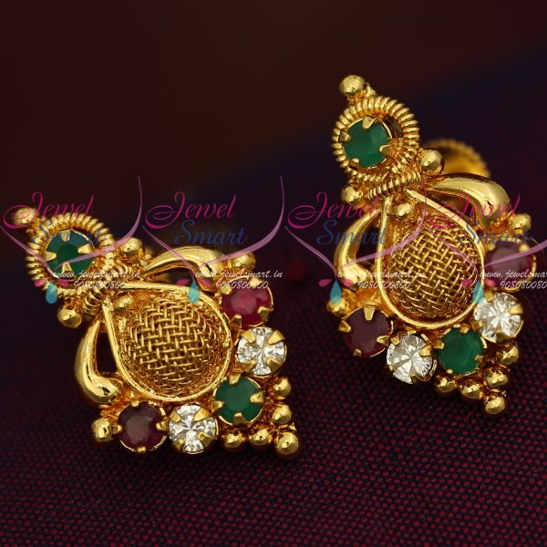 Gpe0183 Gold Plated Screw Tops Earrings Indian Traditional Gold Work