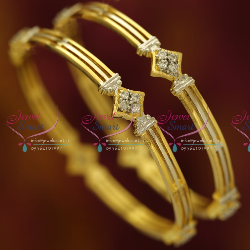 B6081S 24 Size 2 Pcs Two Tone Gold Silver Plated Bangles Buy Online