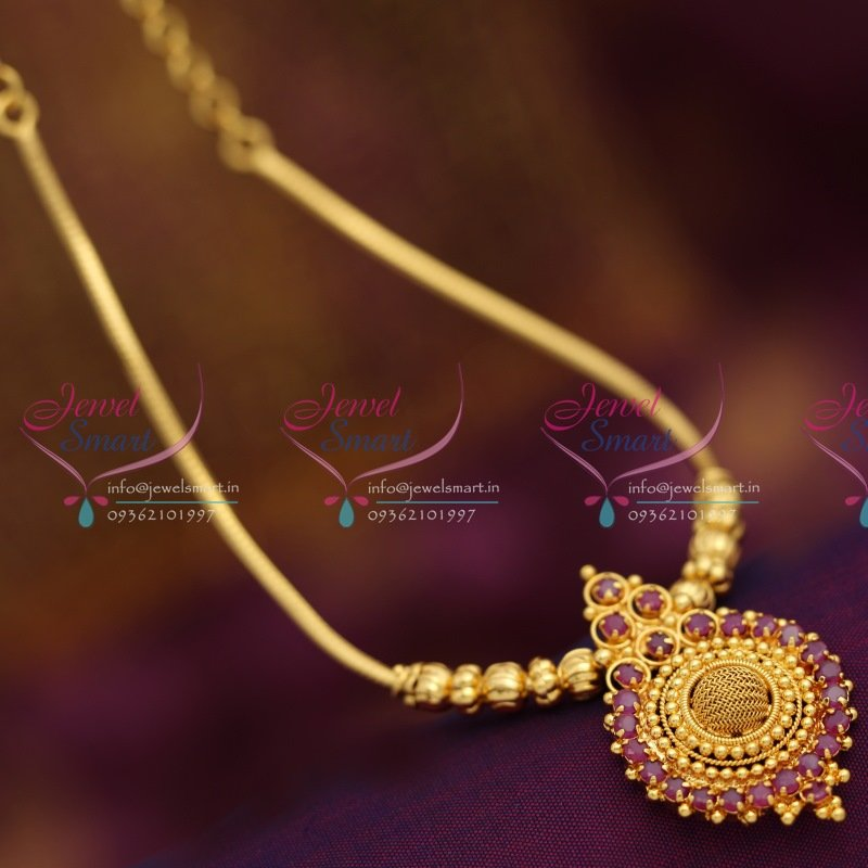 Nl6340 Gold Plated Traditional Design Beads Chain Ruby