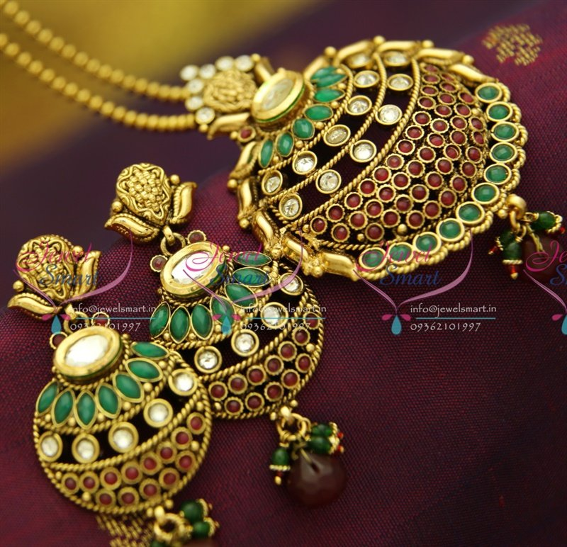 Ps2862 kundan finish antique gold plated ball chain 16 inch pendant ps2862 kundan finish antique gold plated ball chain 16 inch pendant set online offer aloadofball Images