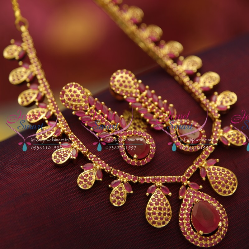 nl2944 delicate thin ruby stones gold plated necklace set