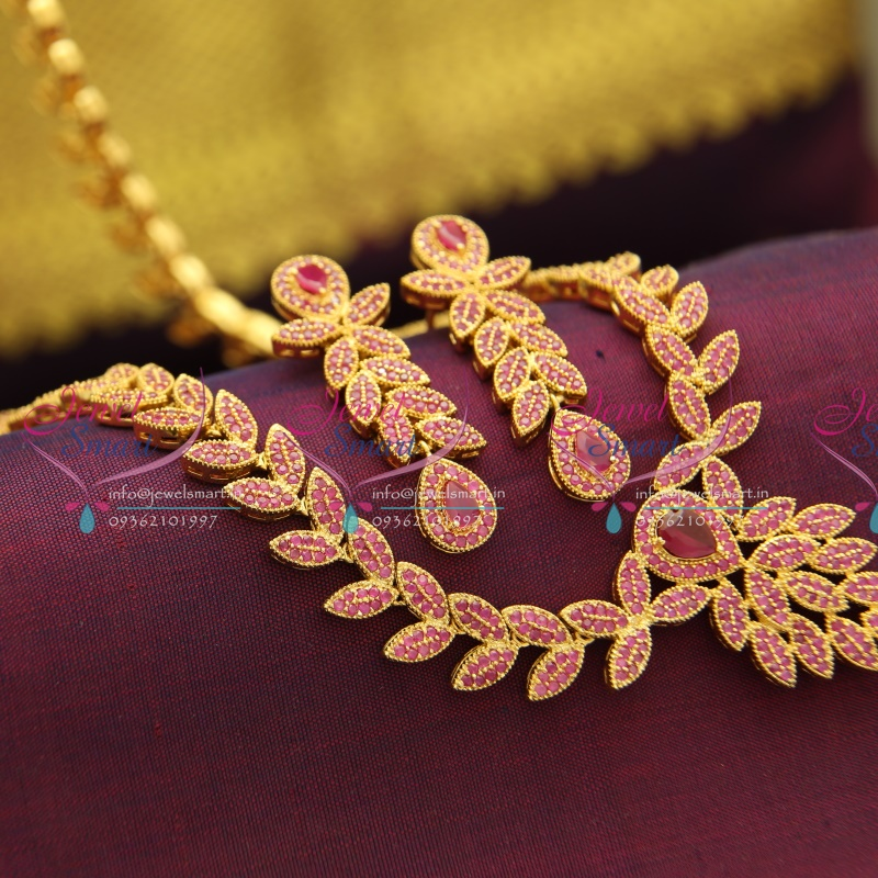 Nl2946 South Indian Traditional Ruby Long Haram Necklace