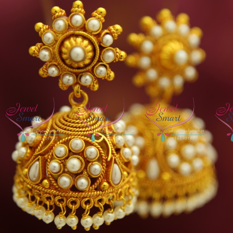 E4216 Red Gold Plated Broad Beads Design Pearl Hangings