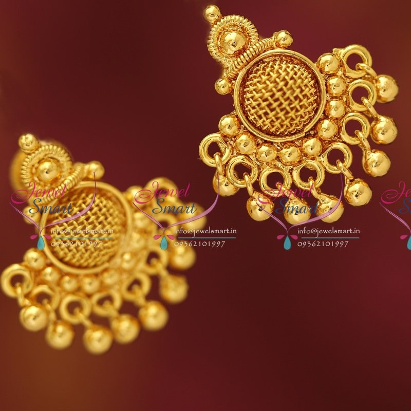 E3199 South Indian Traditional Screwback Gold Design Low