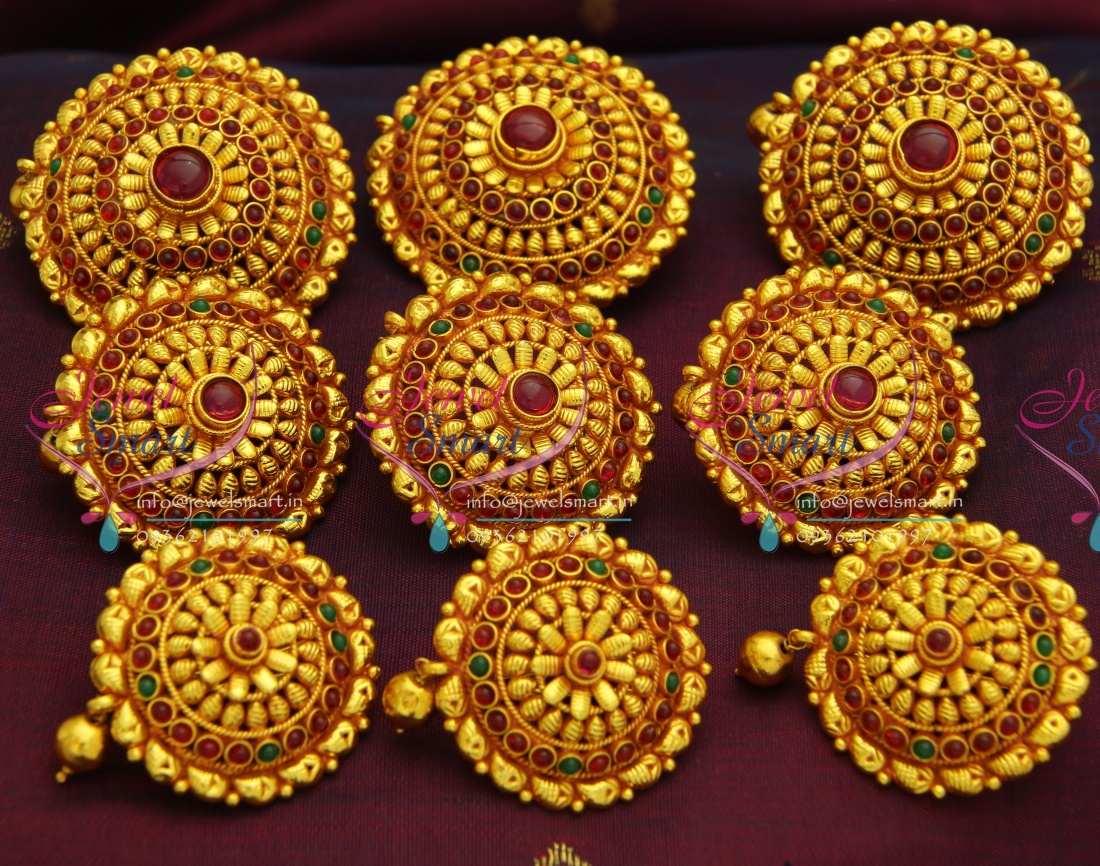 h3073 temple jewellery gheru red gold plated hair decoration hook