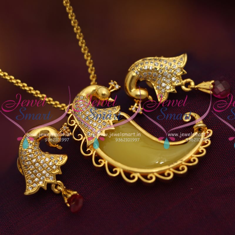 Ps7028 Tiger Nail Peacock Design Cz Stones Traditional Pendant Sets