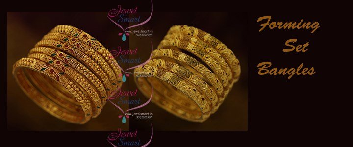 Gold Finish Forming 6 Pcs Set Bangles