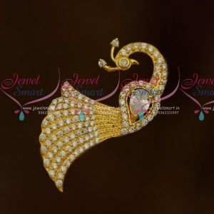 Fancy American Diamond Matching Jewellery Saree Pins White Stones Accessory Online