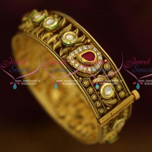 Single Piece Broad Screw Open Kundan AD Bangles Latest Antique Jewelry Online