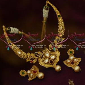 Kundan Stones Short Necklace Antique Gold Plated Small Size Necklace Shop Online