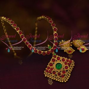 South Indian Thick Metal Finish Kemp Handmade Gold Plated Traditional Short Necklace