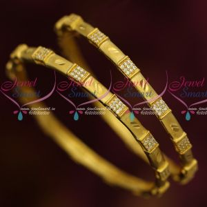 Hollow Design Thin Light Gold Plated AD White Stone Bangles Latest Jewelry Online