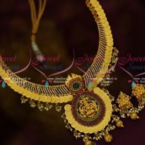 CZ Stones One Gram Temple Necklace Traditional Gold Finish Coin Temple Necklace Online