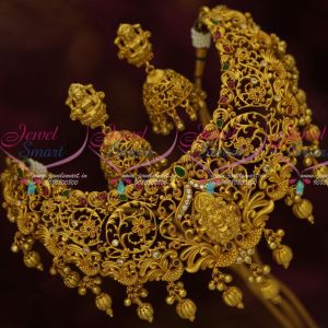 Bridal Traditional Temple One Gram Gold Plated Choker Necklace Jhumka Earrings Online