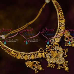 Temple Jewellery One Gram Gold AD Sparkling Stones Real Look Traditional Necklace Set
