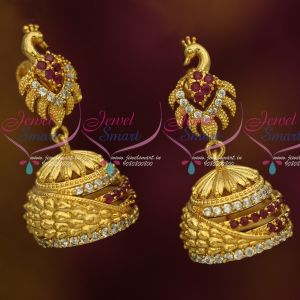 Peacock Stylish Fashion Jewelry Gold Plated Jhumka Earrings Latest AD Stones