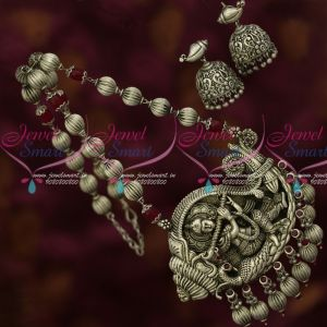 Lord Sangu Krishna Playing Flute Silver Oxidised Beaded Traditional Jewelry Online
