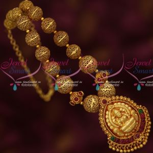 Beaded Antique Gold Plated Jewelry Reddish Temple South Indian Traditional Design