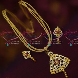 American Diamond Stones Dull Gold Matte Finish Chain Pendant Sets Online