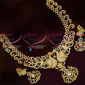 Trendy Peacock Gold Plated AD Jewellery Latest Designs Imitation Online