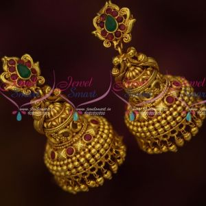 South Indian Traditional Screwlock Jhumka Earrings Antique Jewellery Designs Online