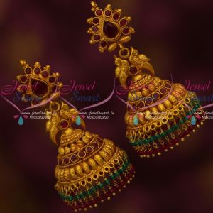Matte Gold Plated Jewellery Big Size Double Layer Bead Drops Jhumka Earrings Shop Online