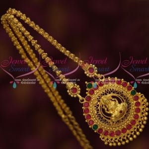 Gold Covering Jewellery Daily Wear Flexible Chain Temple Pendant Multi Colour Stones