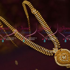 White AD Stones Flexible Mango Haram Latest South Indian Gold Covering Jewelry