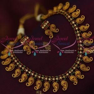 Antique Matte American Diamond Intricately Designed Mango Necklace Shop Online