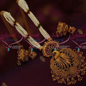 Multi strand Pearl Chain Big Long Peacock Pendant Matching Jhumka Earrings Matte Antique Beaded Jewellery Online