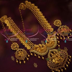 Peacock Engraved KasuMala Gold Plated Antique Radha Krishna Kemp Jewellery