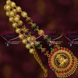 Real Kemp Gold Plated Temple Jewelry Multi Colour Pearl Mala Low Price Imitation