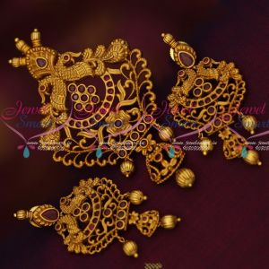 Low Price Matte Gold Plated Peacock Pendant Set Ruby Stones Shop Online