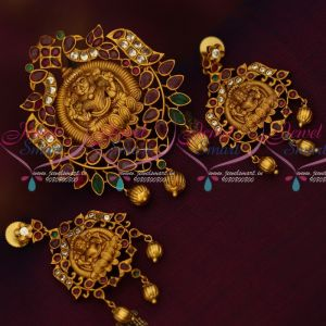 AD Stones Latest Low Price Matte Gold Plated Imitation Jewellery Temple Pendant Sets Shop Online