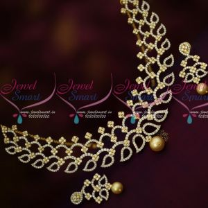 CZ Stones Two Tone Gold Silver Plated Diamond Finish Stylish Necklace Set Shop Online