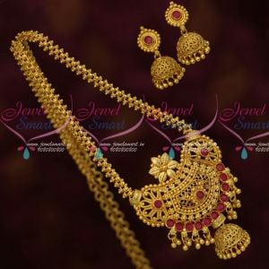 South Indian Gold Covering Chain Pendant Ruby Jhumka Traditional Collections