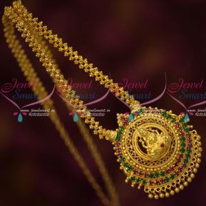 South Indian Ruby Emerald Temple Jewelry Big Pendant Ghajiri Chain Traditional Designs Online