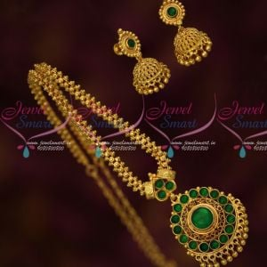 Ghajiri Chain Gold Plated Green Kemp Pendant Matching Screwback Small Jhumka Earrings