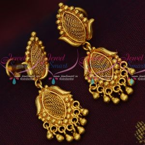 Daily Wear South Indian Gold Covering Screw Lock Earrings Low Price