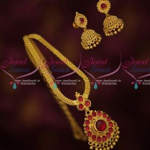 Flat Chain Round Original Kemp Red Stones Attiga Traditional Gold Plated Jewelry Online