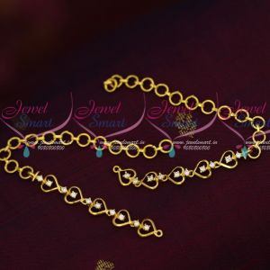 White AD Stones Gold Plated Simple Design Earchains Online