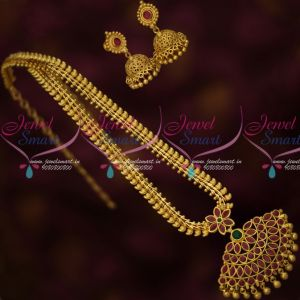 Mango Design Chain Attiga Pendant Matching Jhumka Earrings Latest Gold Covering Jewelry Online