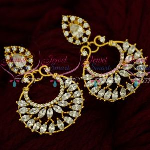 AD White Stones Sparkling Chandbali Earrings South Indian Screw Design Online