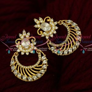 AD Marquise White Stones Gold Plated Chand Bali South Screw Imitation Online