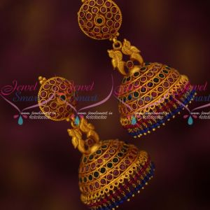 Traditional Gold Design Fashion Jewellery Red Blue Stones Big Jhumka Earrings Online