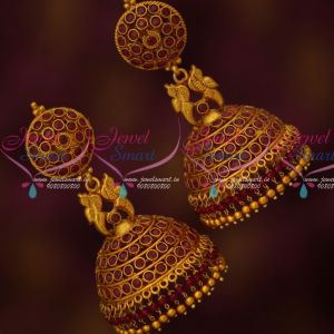 Traditional Gold Design Fashion Jewellery Red Stones Big Jhumka Earrings Online